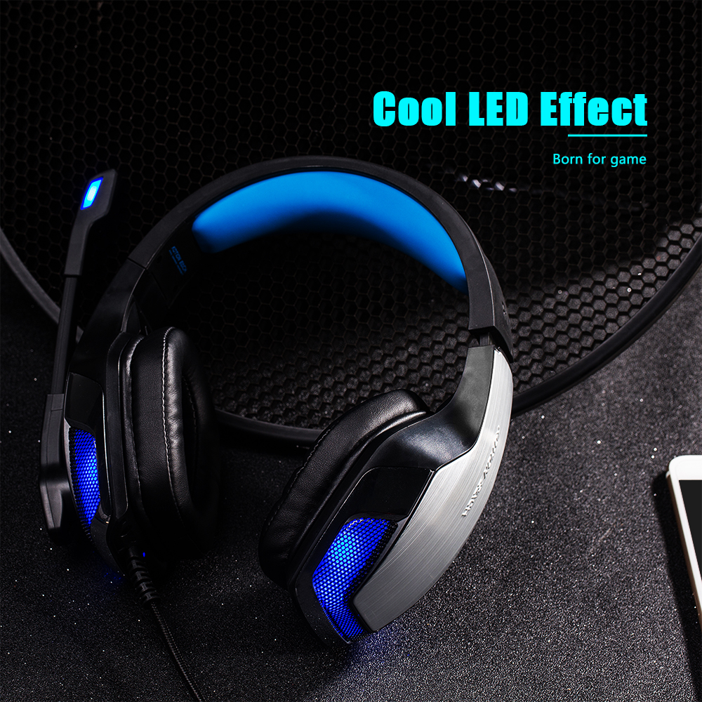 KOTION EACH G5300 Stereo Gaming Headset 2.2m Cable LED Light Over-ear Headphones with Mic for Computer Game- Blue and Black