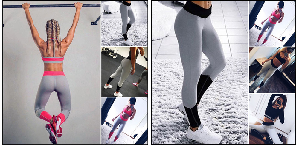 Trendy Mid Waist Color Blocking Print Elastic Skinny Women Yoga Pants
