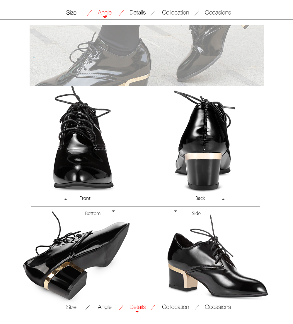 Trendy Pointed Toe Lace-up PU Chunky Heel Women Shoes