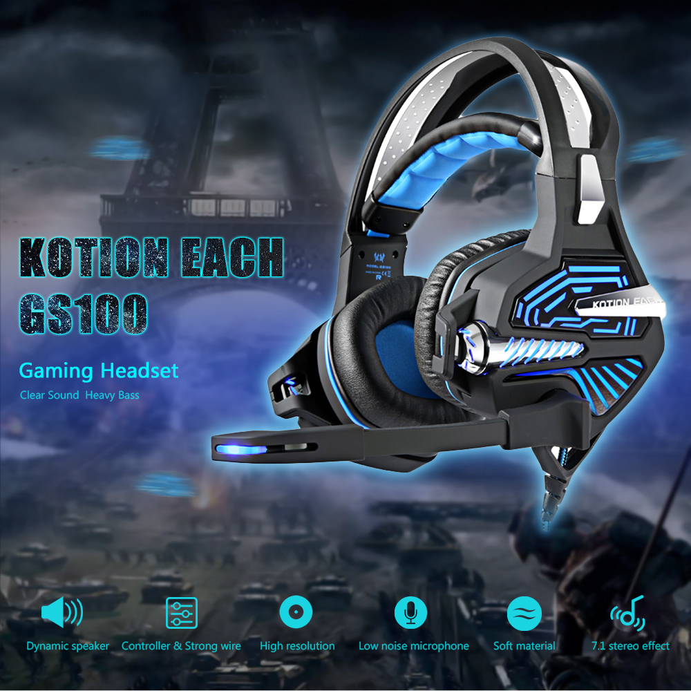Kotion Each Gs100 Over Ear Stereo Gaming Headset 4326 Free Army Handsfree Earphone Iron Bass 2 Biru 21m Cable Led Light Headphones With