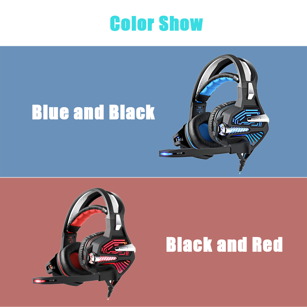KOTION EACH GS100 Stereo Gaming Headset 2.1m Cable LED Light Over-ear Headphones with Mic for Computer Game- BLACK&RED