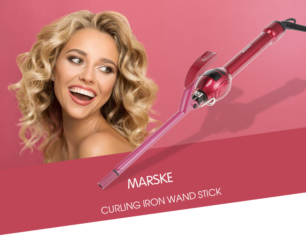 MARSKE LCD Curling Iron Wand Stick Hair Curler Ceramic Hairdressing Tool