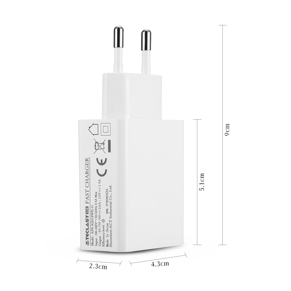 teclast aps ki018we g qc3 0 fast charger white eu plug for rh gearbest com