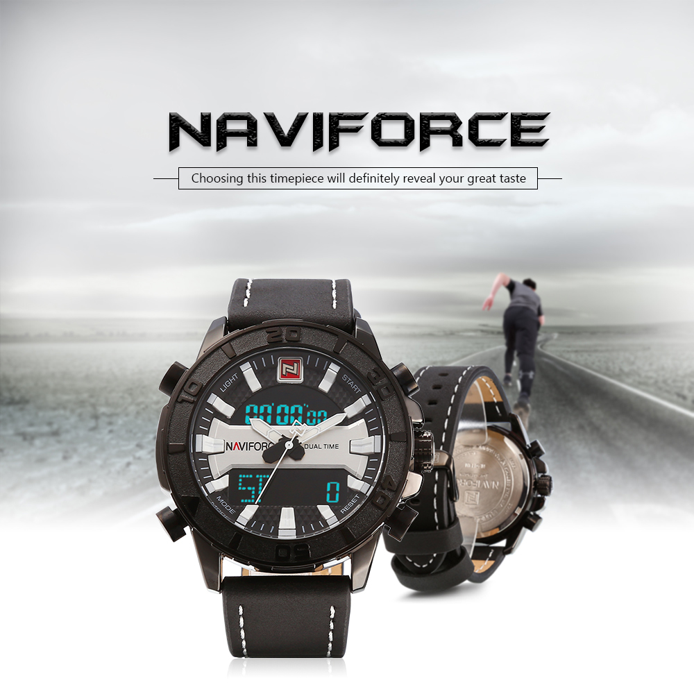 NAVIFORCE 9114 Dual Movt Sports LED Male Watch Calendar Stopwatch Alarm Men Wristwatch- White and Black
