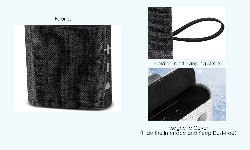 iKANOO I506 Portable Bluetooth Speaker Fabric Cover with Holding Hanging Strap Wireless for Home- Flax Green