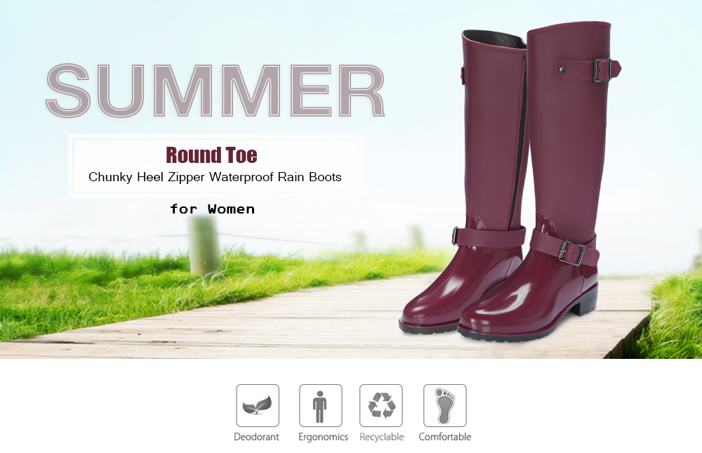 Womens Fashion Knee High Boots Floral Round Toe Rainboots Shoes Casual Comfort