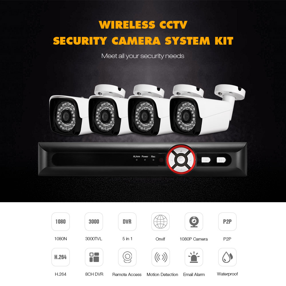 HA - 0284X - AI200 8CH House Camera System DVR 1080N and 4PCS Bullet Home Security Cameras 3000TVL HD Resolution