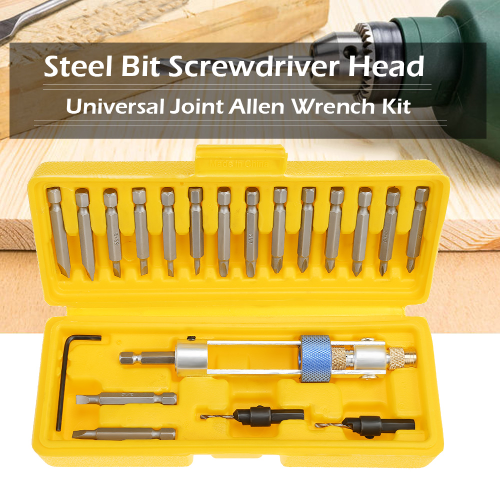 Half Time Drill Driver Steel Bit Double Use Screwdriver Head Universal Joint Kit