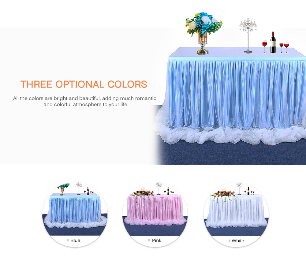 Handmade Tulle Table Skirt Tablecloth for Party Wedding Home Decoration- Pink