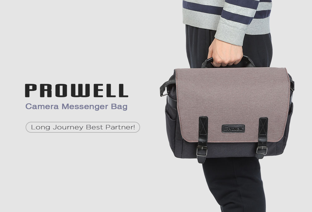 PROWELL DC22338 Water Resistant Camera Messenger Bag for Nikon Canon Sony Digital SLR