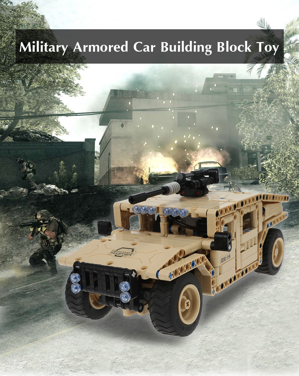 Remote-controlled Military Off-road Vehicle Building Block Toy 502pcs