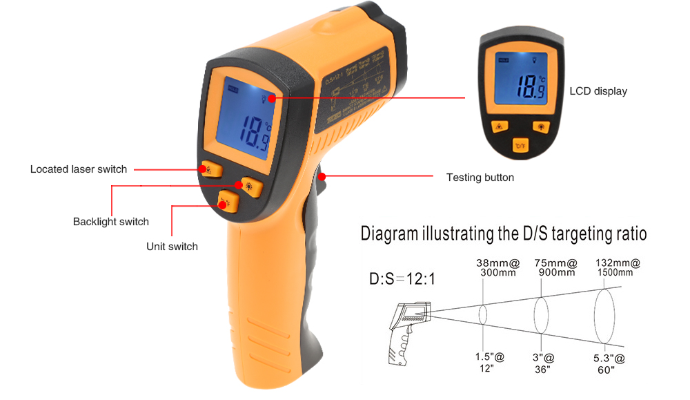 WH550 LCD Infrared Thermometer Non-contact Pyrometer