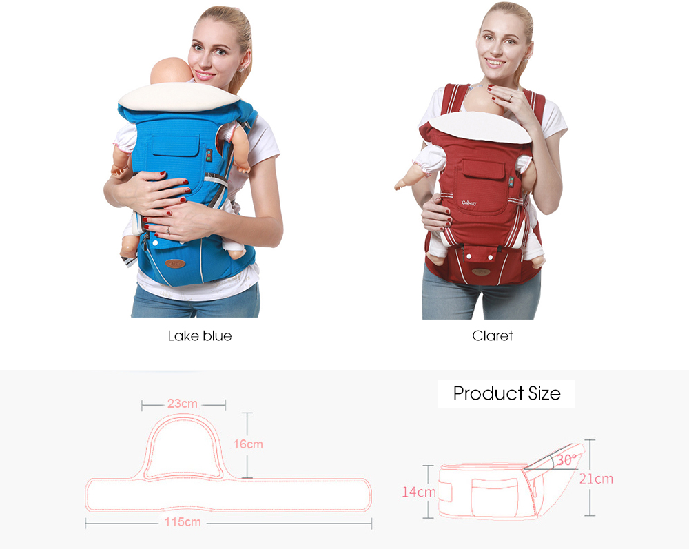 Breathable Baby Carrier Infant Kids Waist Stool Backpack Pouch Wrap- Deep Blue