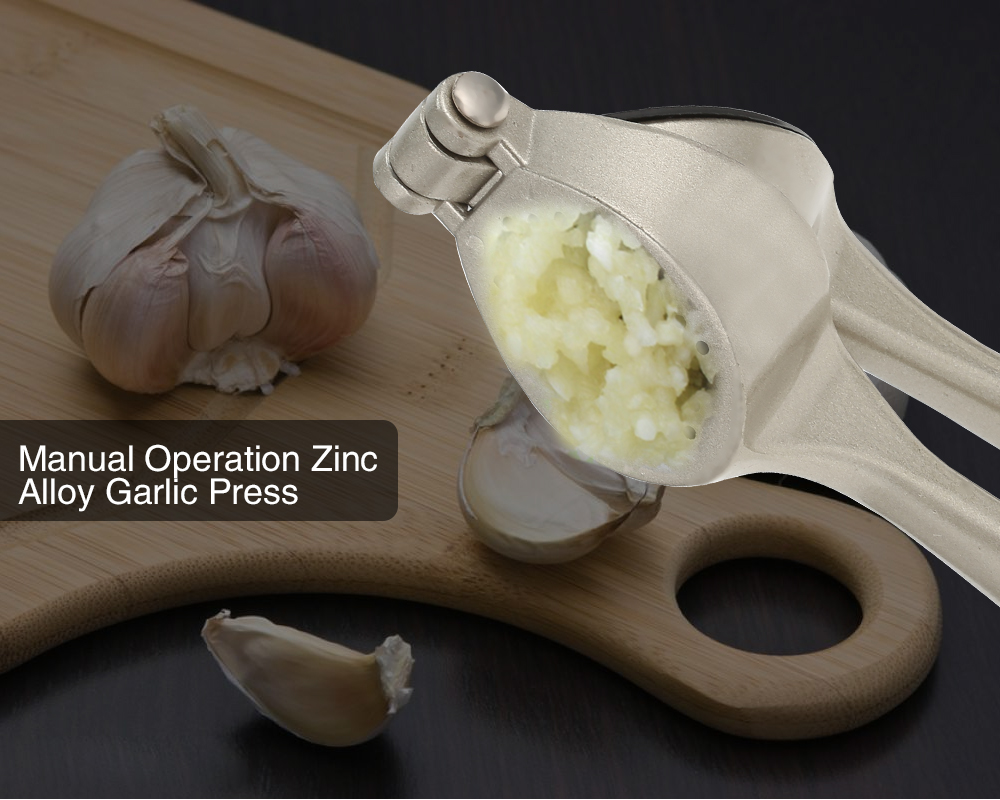 Zinc Alloy Garlic Press Kitchen Gadget- Silver