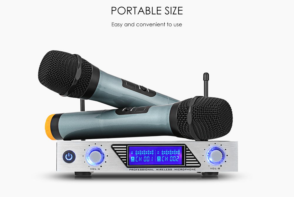 MV - 878 Wireless Handheld Microphone Dual Channel UHF System with Dynamic Cartridge