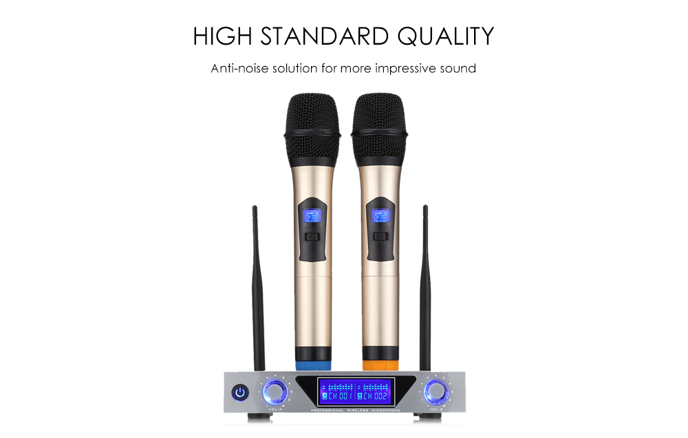 MV - 868 Wireless Handheld Microphone Dual Channel UHF System with Dynamic Cartridge