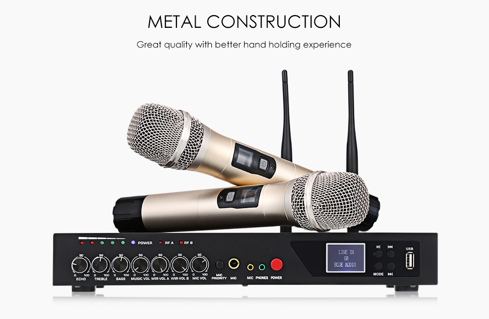 MU - 6S Wireless Handheld Microphone Dual Channel UHF System with Fixed Frequencies Bluetooth Dynamic Cartridge Echo Effect