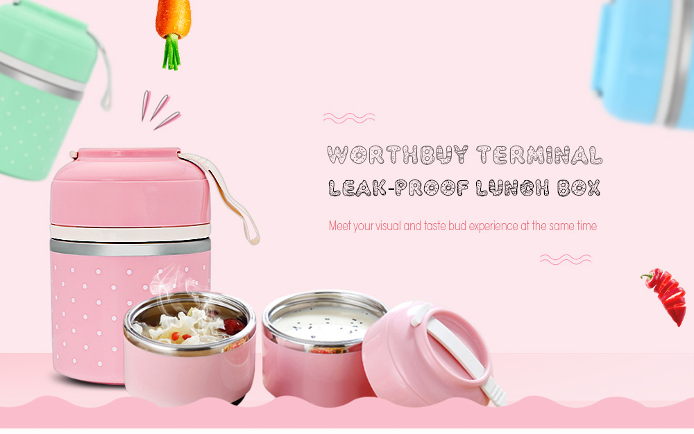 Worthbuy Lunch Box Thermal Leak-proof Stainless Steel  - Pink 3 Layer