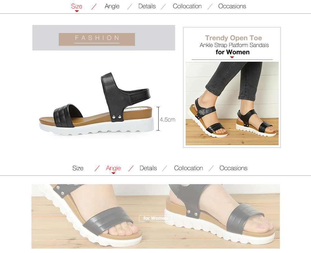 ada81759cff Trendy Open Toe Ankle Strap Hook and Loop Women Platform Sandals- Black 40