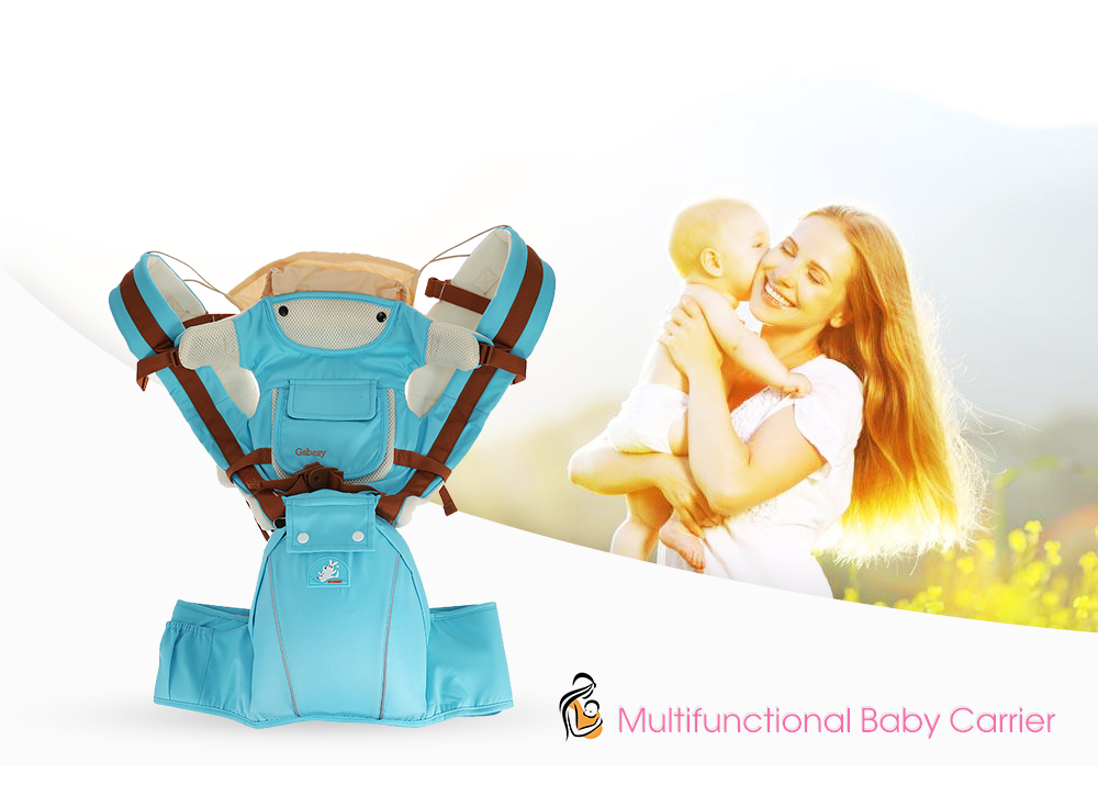 Multifunctional Breathable Baby Carrier Infant Baby Sling Pouch Wrap- Azure