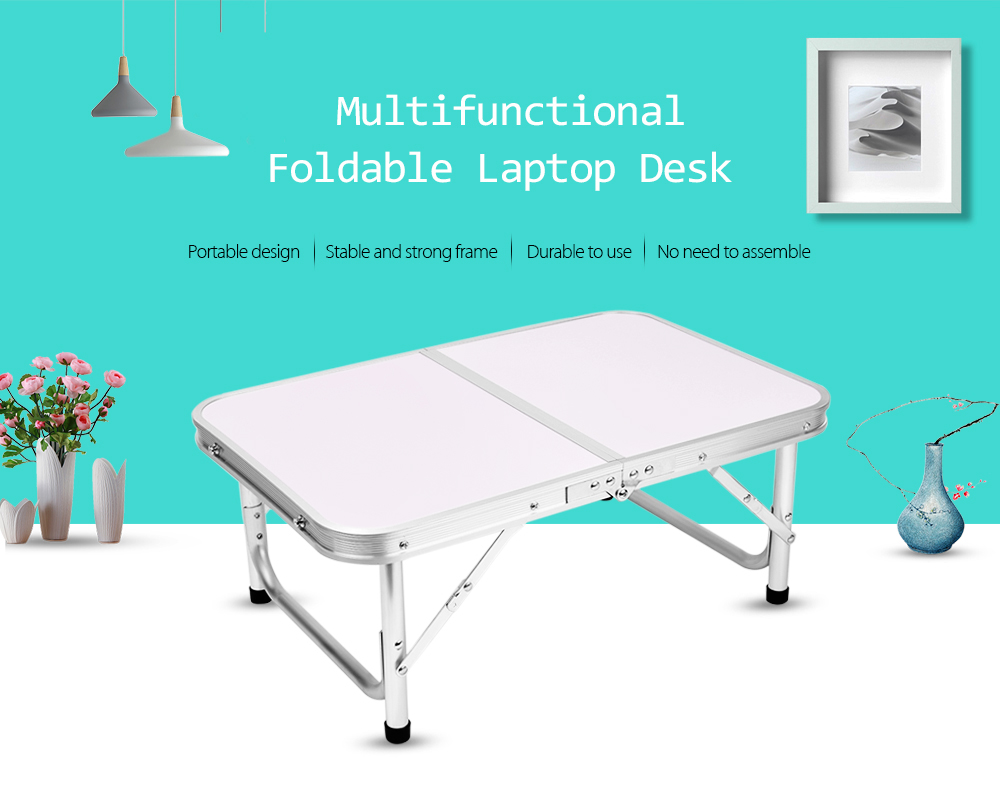 Aluminum Folding Camping Table Laptop Bed Desk Adjustable Height 60 x 40.5 x 24 / 41.5cm