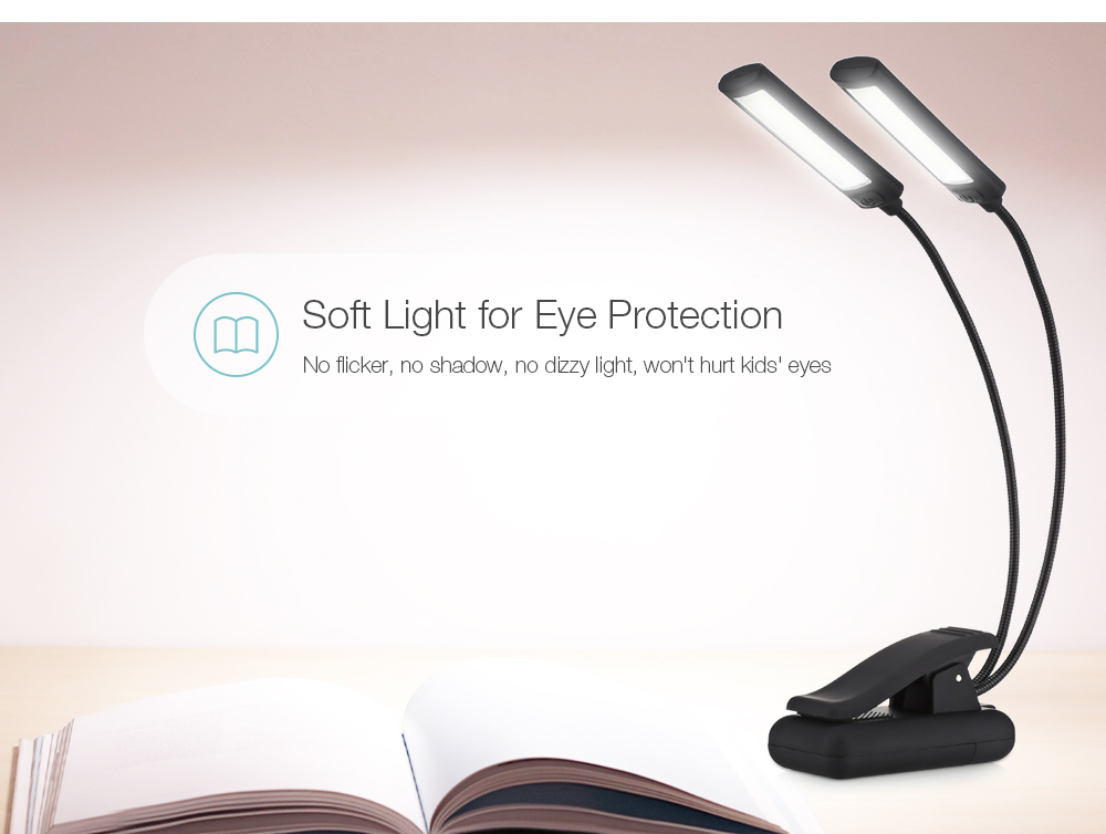 Portable Clip on Book Lamp Flexible Music Stand Light for Mixing Table Piano- Black