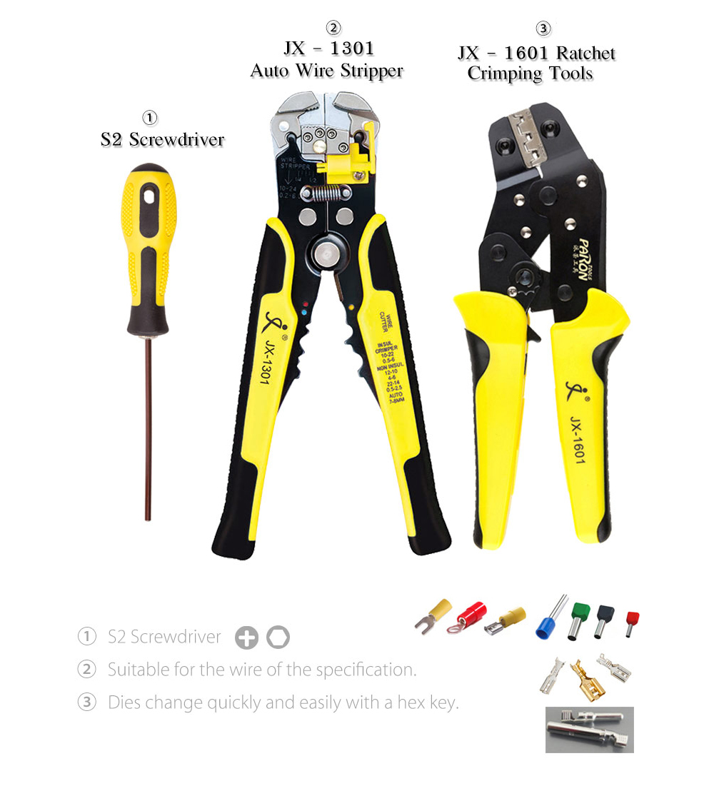 Paron Jx D4301 Multifunctional Ratchet Crimping Tool 4414 Free Auto Wire Stripper Crimper Plier Electricians Action Strippers Terminals Pliers Kit Yellow And Black