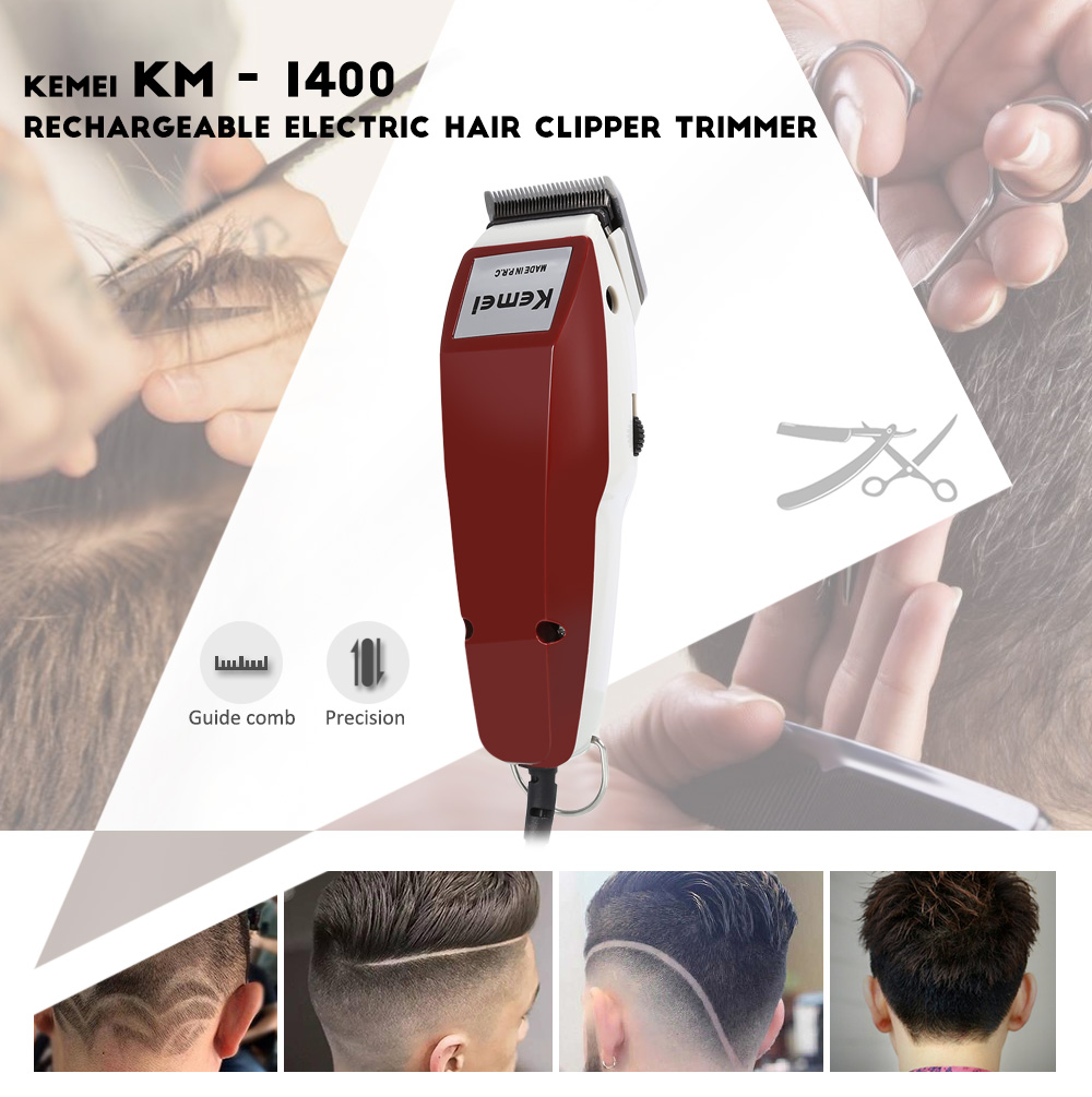 Kemei KM - 1400 Electric Adjustable Blade Hair Clipper Haircut Trimmer