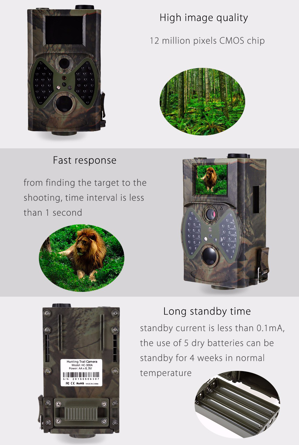 Hc 300a 12mp Wildlife Digital Scouting Trail Hunting Camera Ems Adjustable Headband Green Gold For Baby Earmuff Hc300a Infrared Camouflage