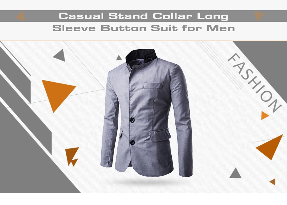 Casual Stand Collar Long Sleeve Button Pocket Men Suit