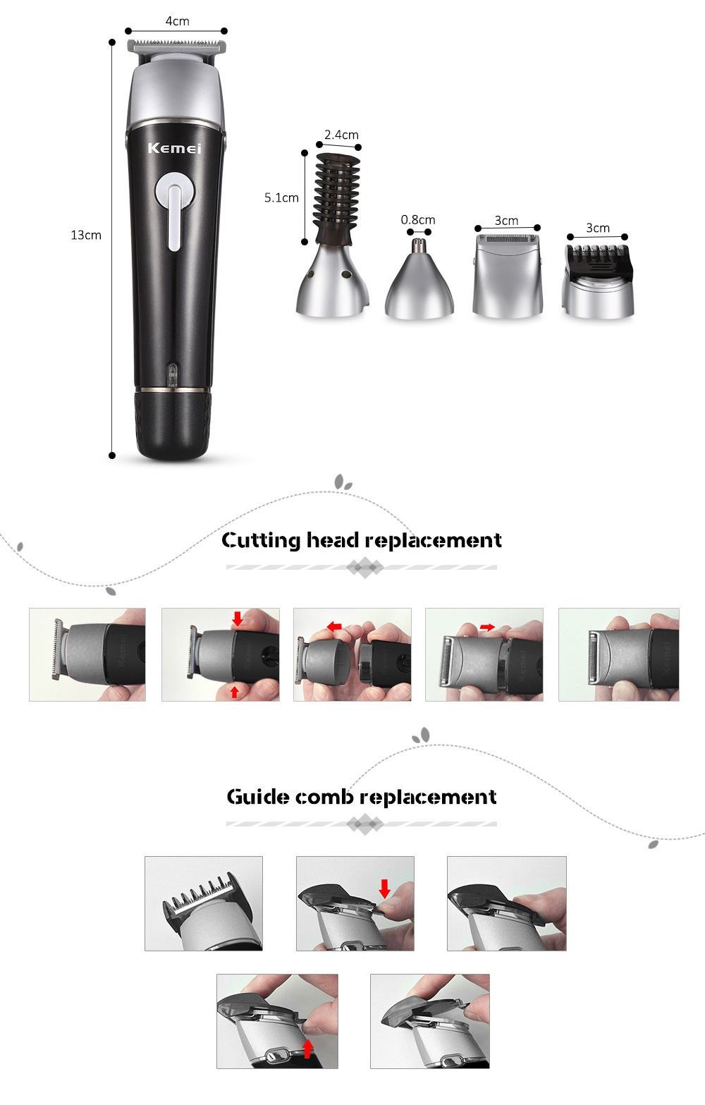KM - 1015 5 in 1 Electric Washable Nose Ear Body Hair Trimmer Beard Shaver- Black EU Plug