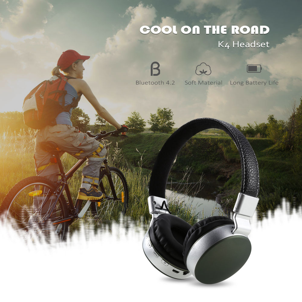 K4 Wireless On-ear Foldable Bluetooth Headphones Stretchable Headband with Mic