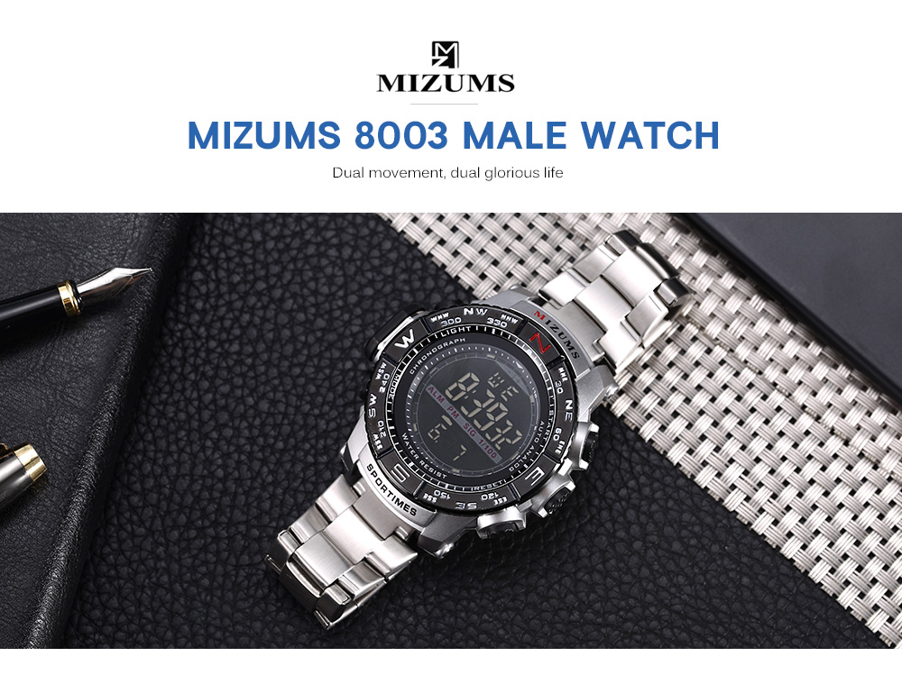 MIZUMS 8003 Male Watch Digital Quartz Stopwatch Backlight Date LED Display Big Dial Wristwatch for Men