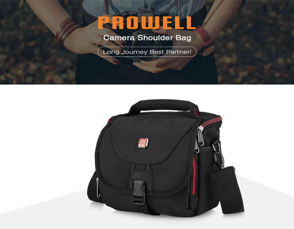 PROWELL DC21754B Water Resistant Camera Shoulder Bag for Compact System