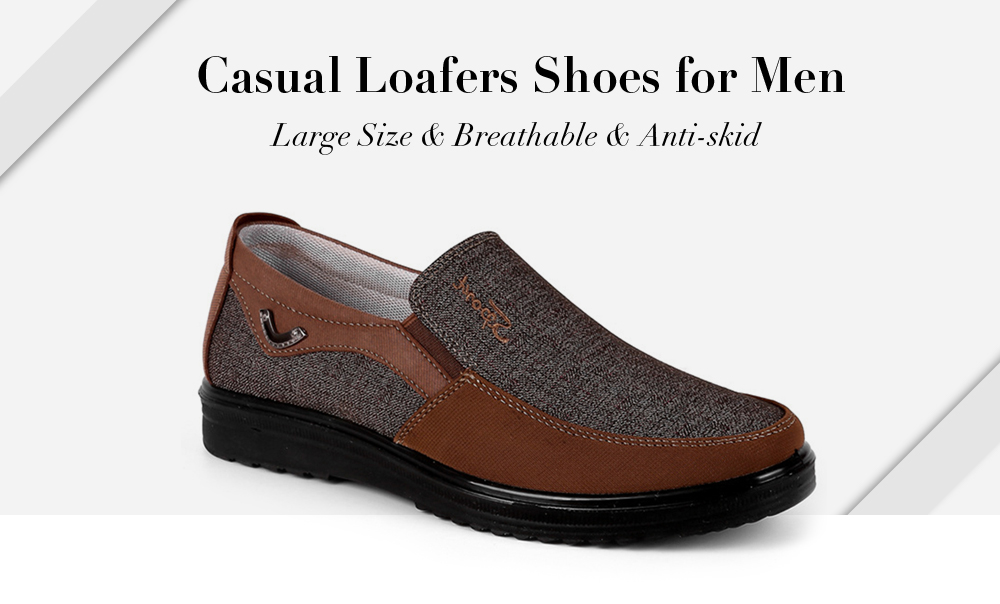 Men Large Size Breathable Anti-skid Loafers Cloth Shoes- Coffee EU 46