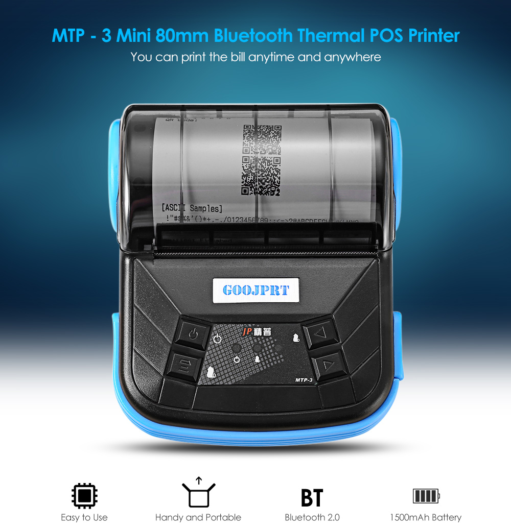 GOOJPRT MTP - 3 Mini Bluetooth 80mm Android 2.0 POS imprimante thermique- Blue EU Plug
