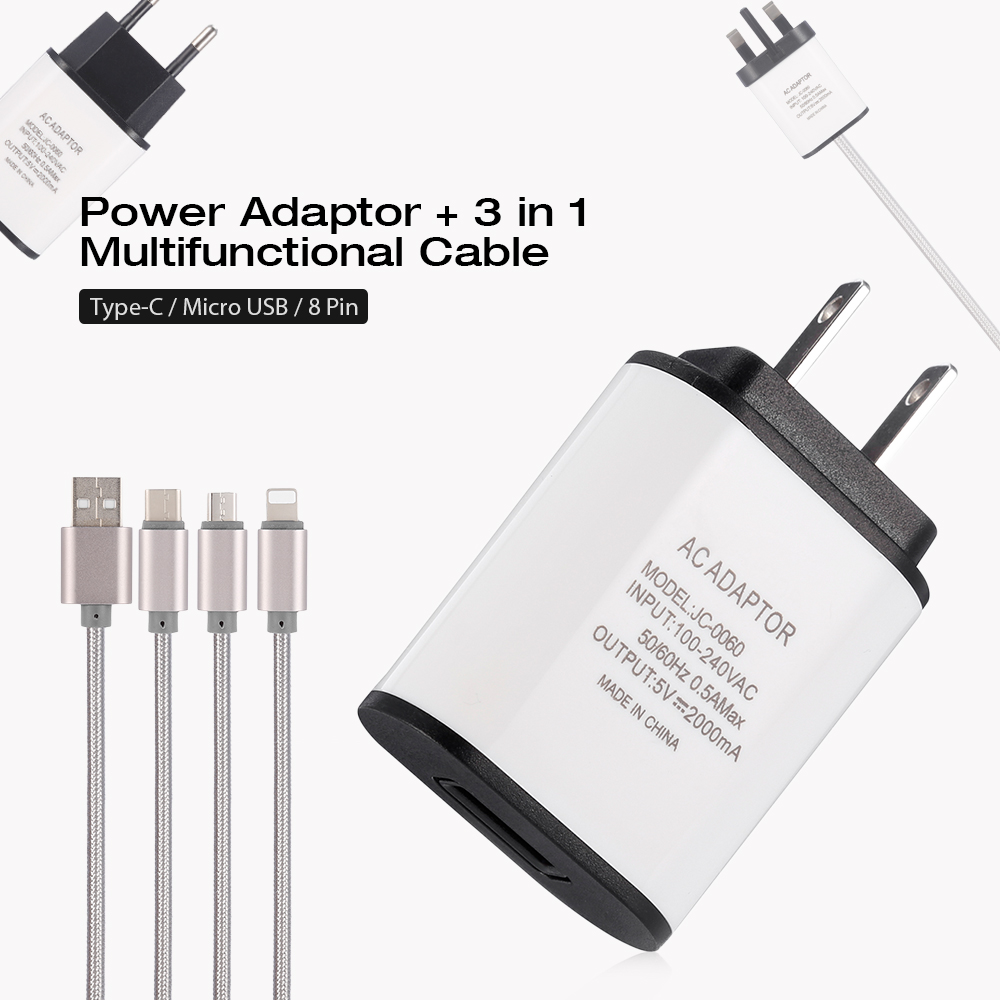 Jc 0060 5v 2a Power Adaptor 3 In 1 Multifunctional Cable Type