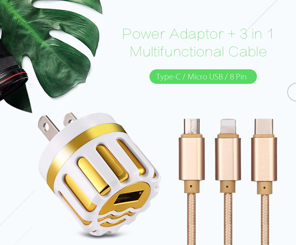5V / 2A Circular Power Adaptor + 3 in 1 Multifunctional Cable Type-C /  Micro USB / 8 Pin 1.2M