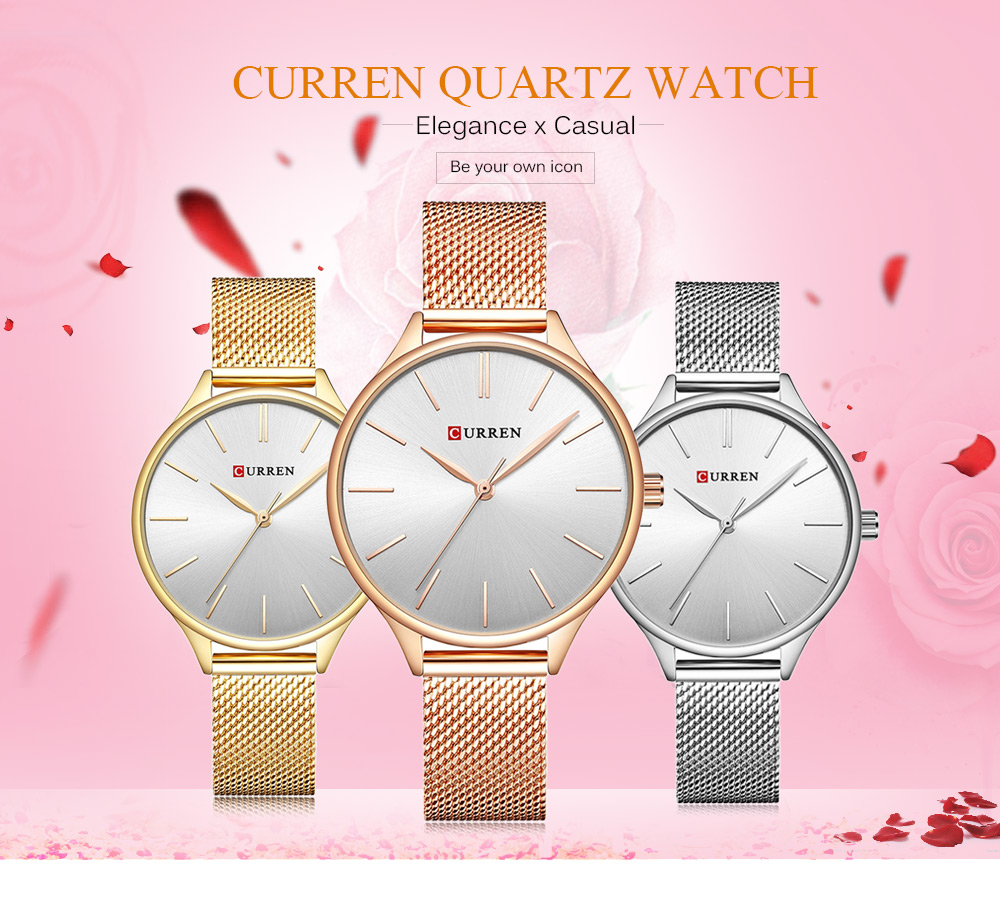 CURREN 9024A Female Quartz Watch Casual Knitted Stainless Steel Band Ultra-thin Wristwatch for Women