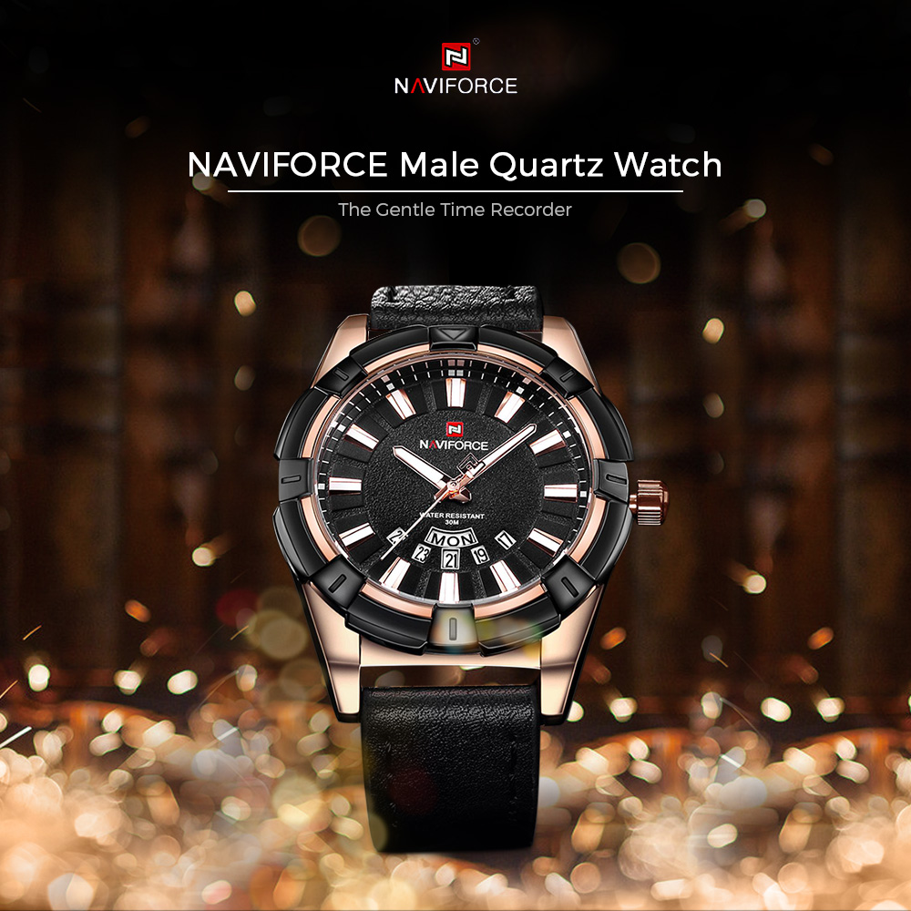 NAVIFORCE 9118 Male Quartz Watch Leather Strap Calender Display Leisure  Wristwatch for Men- Coffee and