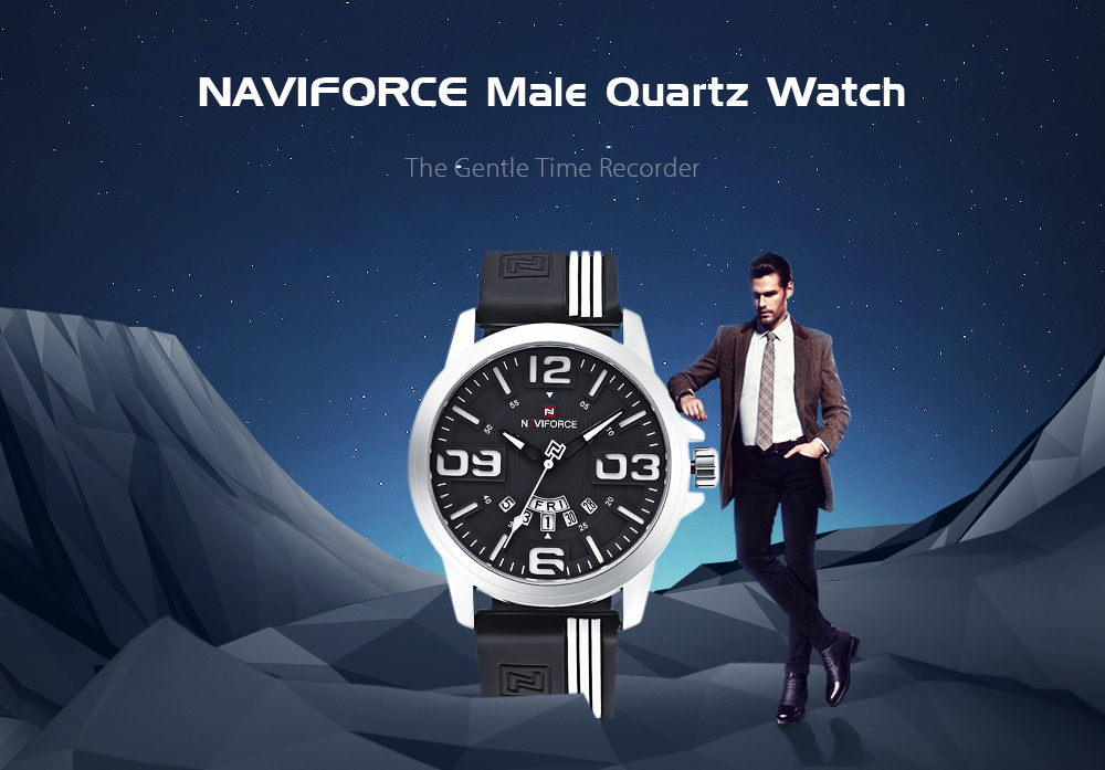 NAVIFORCE 9123 Male Quartz Watch Big Number Display Calender Silicone Strap Leisure Wristwatch for Men- Yellow and Black