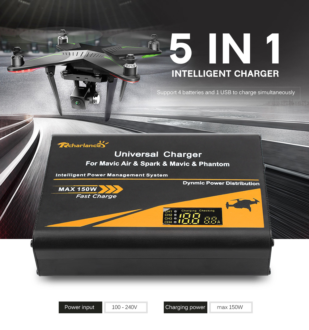 5 in 1 Intelligent Charger 150W Charge Fast Parallel Batteries Hub for DJI Mavic Air / Spark / Mavic Pro / Phantom