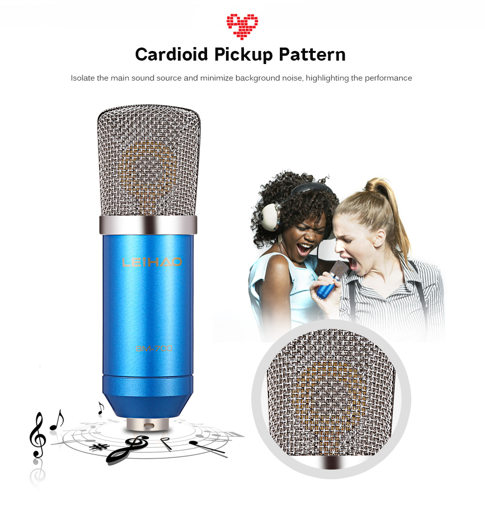 Leihao Bm 700 Condenser Sound Recording Microphone 1690 Free Gaming Studio Bm700 Mic For Pc Laptop Komputer Package Contents 1 X Shock Mount Foam Cap 35mm Audio Cable