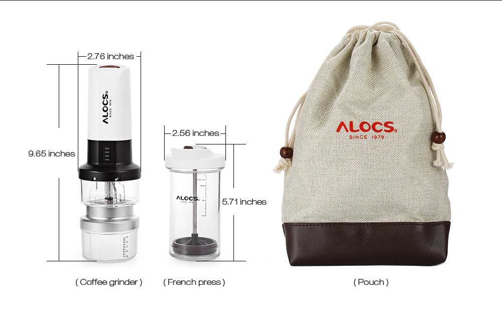 Alocs Kw K25 Outdoor Portable Electric Coffee Maker French Press Kettle Camping Grinder Tableware