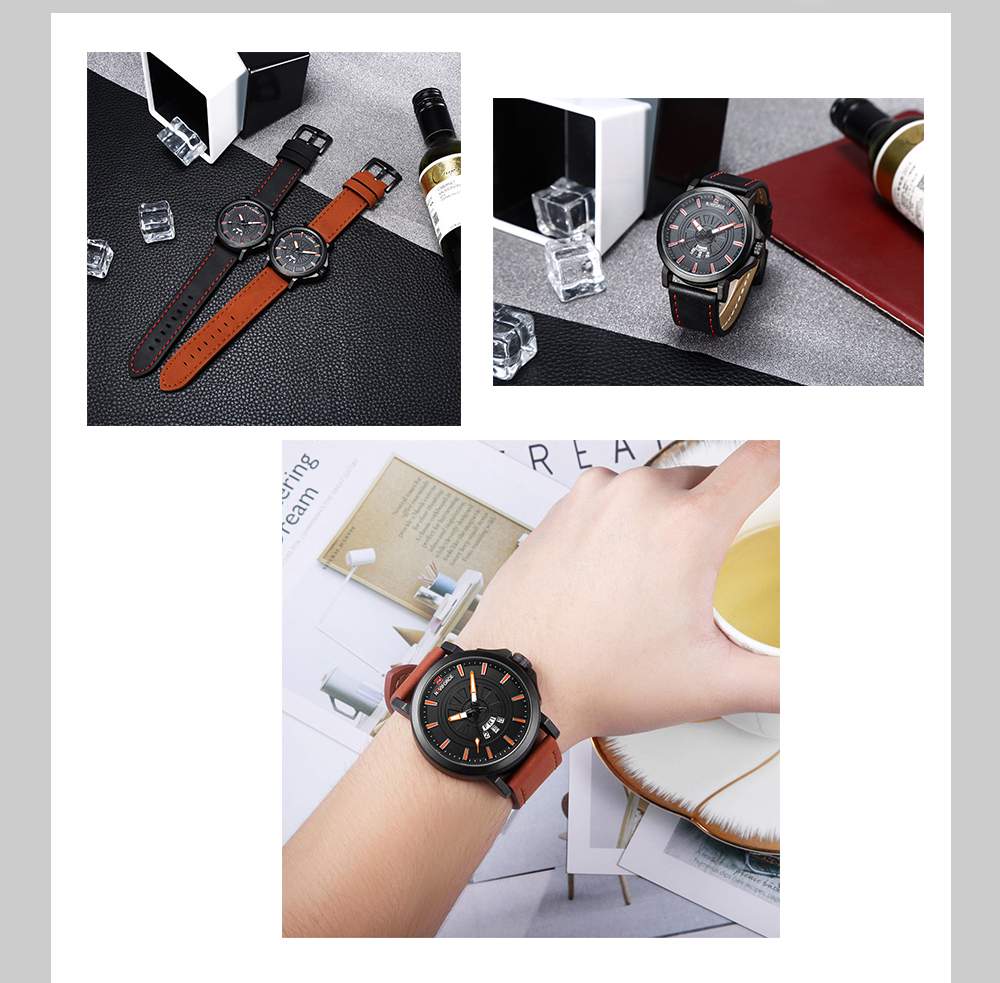 NAVIFORCE 9125 Male Calender Display Quartz Movt Watch Leather Strap Big Dial Wristwatch for Men- Red