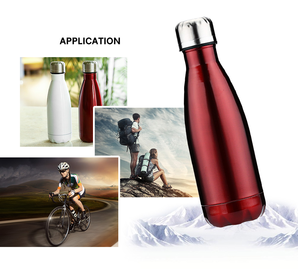 350ML Cola Style Stainless Steel Water Bottle - Black