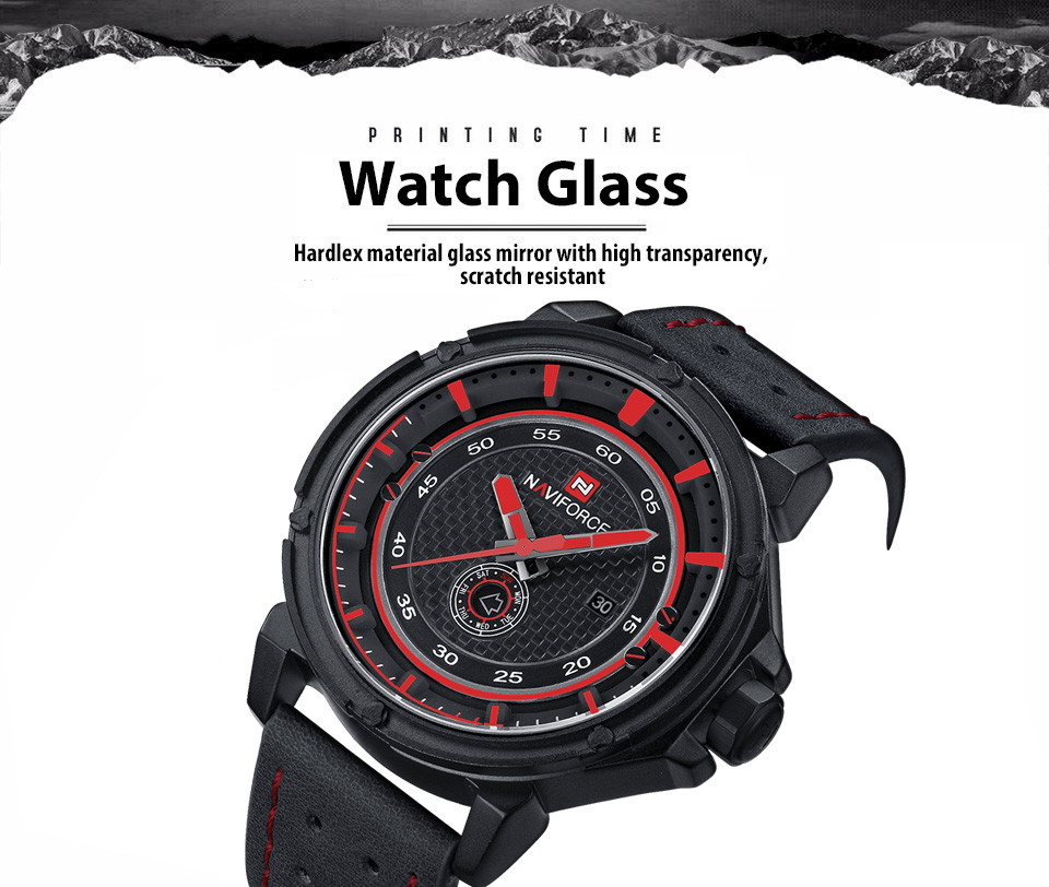 NAVIFORCE NF9083M Men Quartz Watch Date Luminous Display 3ATM Japan Movt Wristwatch- Red with Black
