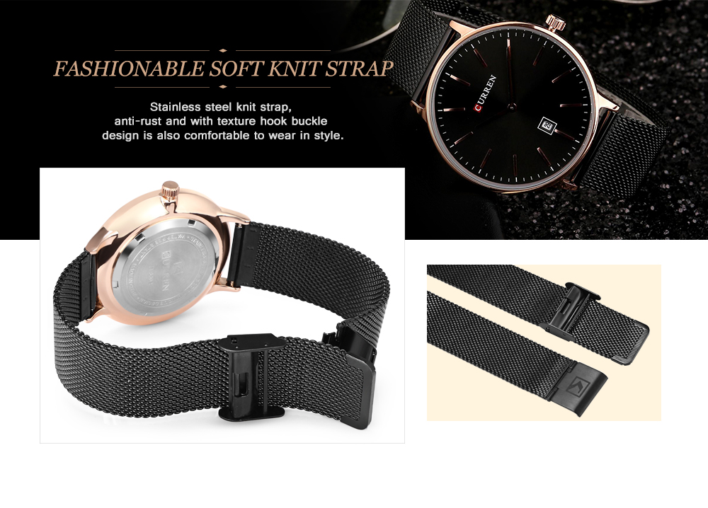 CURREN 8302 Male Quartz Watch Date Display Casual Stainless Steel Band Ultra-thin Wristwatch for Men