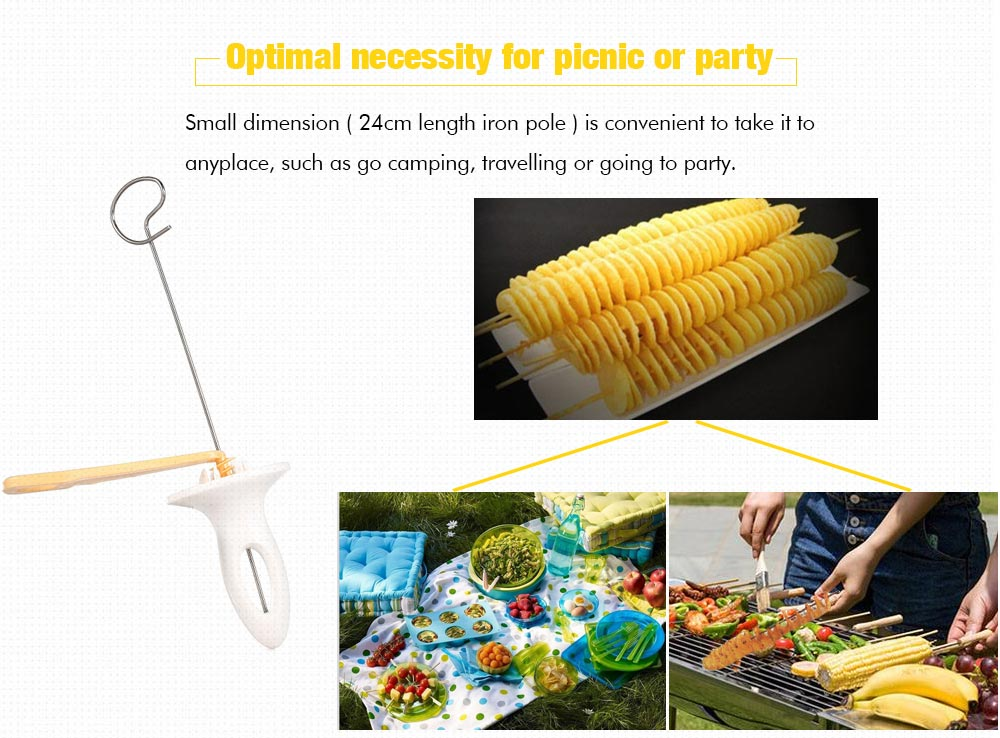 Manual Potato Chips Spiral Slicer Tower Making Twist Shredder Kitchen Accessories- Yellow