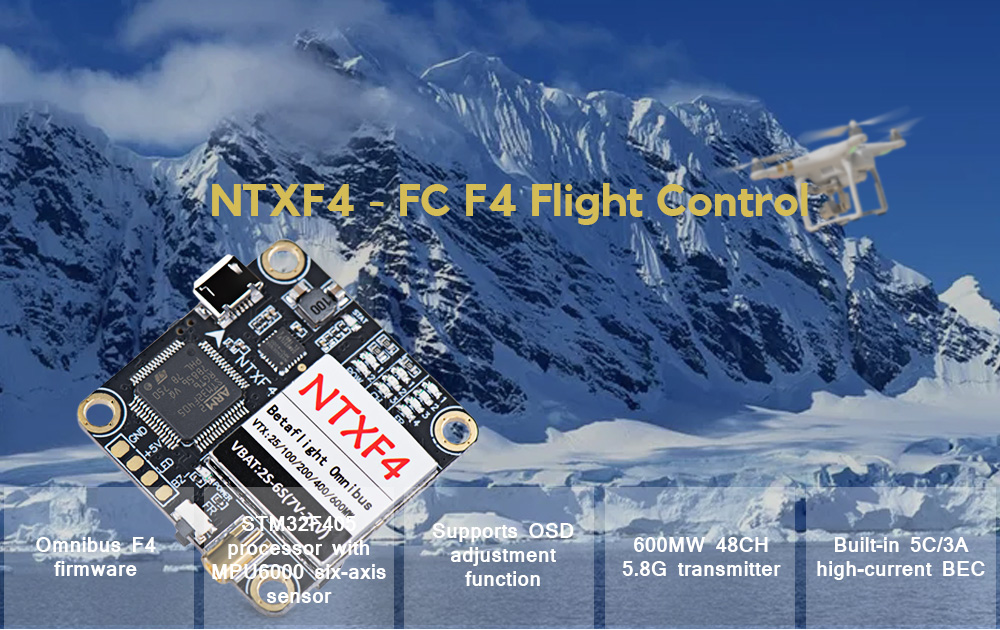NTXF4 - FC F4 Flight Control Integrated OSD 600mW 5.8G Power Adjustable Image Transfer